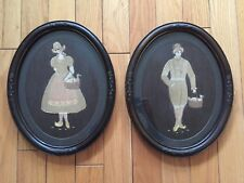 Pair (2) magnificent Needlepoint  Antique Dutch Girl and Boy  Framed Under Glass
