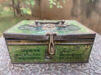 1950 Vintage Original Old Brass Handle Amrutanjan Pain Balm Ad Litho Tin Box