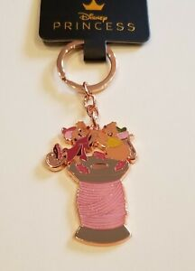 Loungefly Disney Cinderella Gus and Jaq Rose Gold Keychain NEW