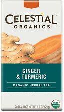 Organic Ginger & Turmeric Tea, Celestial Seasonings, 20 tea bag 6 pack