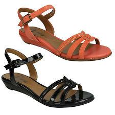 Ladies Clarks Open Toe Slingback Sandals BIANCA Crown Black Patent Combi UK 5 D