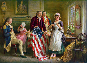 Betsy Ross Sewing Flag W George Washington 1777 Painting Art Real Canvas Print
