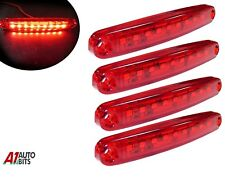 Four Red Super Bright 9 Diodes Slim Line Tail Marker Lamps Car Van Boat 100mm