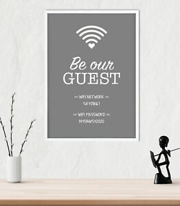 Personalised Wifi Password Wall Art Print Poster Decor Typography - Grey & White
