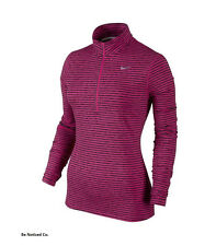 Nike Element Stripe Half-Zip Women's Running Top L Pink Long Sleeve Shirt New