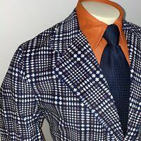NOS Vtg 60s 70s Blazer Crompton CORDUROY Jacket Suit Coat Plaid Disco MENS 42