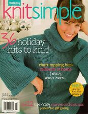 Vogue KNIT SIMPLE Holiday 2006 Xmas Gifts Elf Scarf Hat Sweaters XL Sizes
