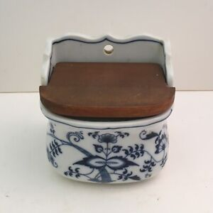 Vintage Blue Danube Onion Pattern Salt Box