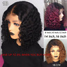 Short Curly Lace Front Women Hair Wig Ombre Brazilian Bob Water Wave Pre plucked