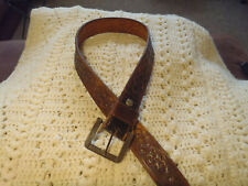 Tooled brown all leather belts size s/m