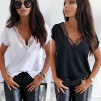 Women Deep Lace V Neck Short Sleeve Top Blouse Summer Casual Plain Loose T Shirt