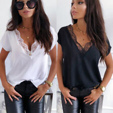 Plus Size Women Sexy Lace V Neck T Shirt Soft Baggy Loose Casual Blouse Tee Tops