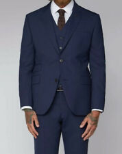 BNWT Gibson London Essentials Blue Semi Plain 3 Piece Suit 42 Chest 34 Waist Reg
