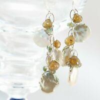 Golden Green Keshi Pearl Tourmaline Silver Chain Cluster Cascade Dangle Earrings