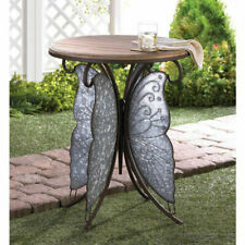 Butterfly Wings Accent Table Rustic Country Wood Iron End Table Indoor Outdoor