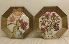 Decoupage Glass 2 Octagonal Floral Plates Signed B. Cardona 10""