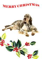 ENGLISH SETTER SINGLE DOG PRINT GREETING CHRISTMAS CARD