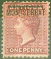 Montserrat 1883 1d Rouge SG6a Inversé S Fin MTD Excellent État Scarce