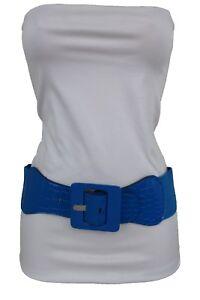 Women Casual Look Belt Wide Cobalt Sky Blue Elastic Square Shape Buckle XS S M