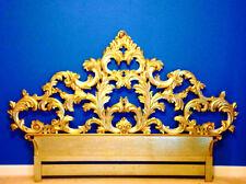 RARE Stunning Vintage Italian Baroque Gold Gilt Carved Wood King Headboard Bed
