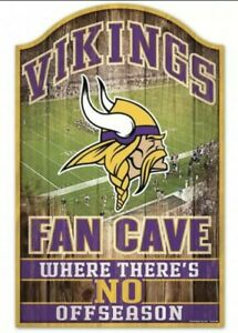 """Minnesota Vikings Fan Cave Design Wood Sign - 11"""" x 17"""" [NEW] NFL Wall Man"""