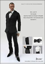 CC216 1/6 DOLLSFIGURE Black Tuxedo Suit Full Set-Fit HOT TOYS,ENTERBAY,VERY COOL