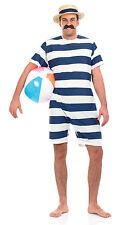 MENS VICTORIAN EDWARDIAN SEASIDE BATHING SUIT SWIMSUIT FANCY DRESS COSTUME & HAT