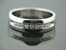 0.36 Carat Wide Gents Channel Set Diamond Ring 14K white Gold Size 8.5