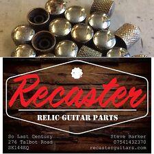 2x Recaster Relic Bass Telecaster Dome Guitar Knurled Metal Knobs push-on retro