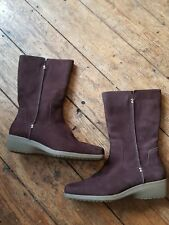 Footglove boots. Size 5. Brown suede. Mid calf, side zip and low wedge heel.