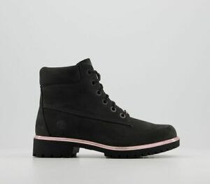 Womens Timberland Slim Premium 6 Inch Boots Black New Rose Gold Boots