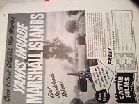 r7 ephemera 1944 ww2 film advert yabks invade marshall islands