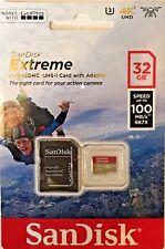 SanDisk 32GB Extreme Micro SDHC Tarjeta de memoria UHS-1 U3 4K 100MB/s Con Adaptador