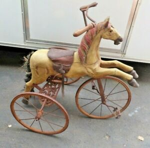 Antique 1800s Hand Carved Wooden Horse & Iron Tricycle pedal ride on toy western