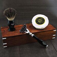 Shaving Set For Men With Black Badger Brush,Mach 3 Razor,Soap & Rose Wood Box.
