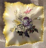 VTG Old Foley James Kent Ltd Staffordshire England Flowers & Butterfly 4x4 Plate