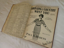 Bound collection of 19 pre 1922 songs : measures 35cm x  26cm  several WW1 songs
