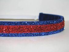 Glitter Headband no slip adjustable Blue/Red non sweaty Hair Bands