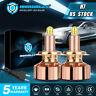 IRONWALLS 6-Sides H7 LED Headlight High or Low Beam Bulbs Kit 6500K Super Bright