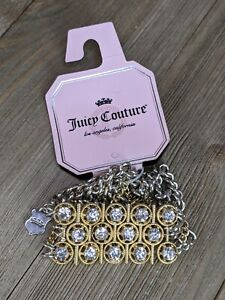 Juicy Couture Gold & Silver Tone Rhinestone Front Stretch Bracelet Small