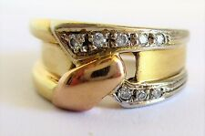 Vintage 18k Yellow and Rose Gold Ring with 8  GASSAN Diamonds  8 g Size 7