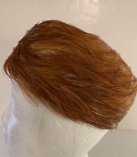 Vintage Ladies Pillbox Feather Hat Union Made, Pheasant