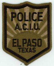 TEXAS TX EL PASO POLICE ACIU SUBDUED NEW PATCH SHERIFF