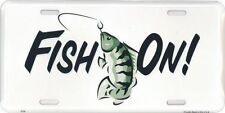 """Fish On Bass Fishing Outdoors 6""""x12"""" Aluminum License Plate Sign Metal"""