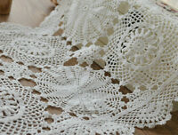 Vintage White Hand Crochet Lace Doily Victorian Tray Cloth Cotton Snowflake