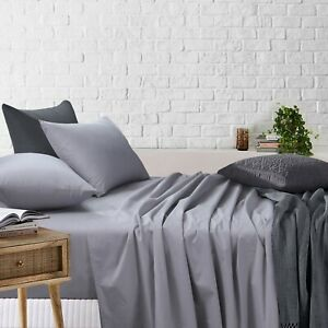 Light Grey Sheet Set Single/KS/Double/Queen/King Bed Fitted Flat Pillowcases