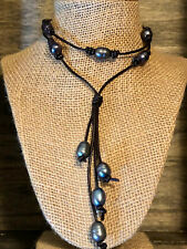 Freshwater Pearl Necklace Strand, Pearl Leather Necklace - Peacock Blue & Brown