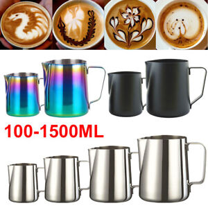 100-1500ML Milk Frothing Jug Frother Stainless Steel Metal Coffee Latte Pitcher