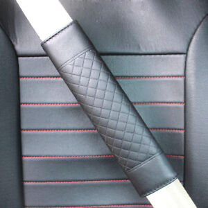 2x Black Auto Car Safety Belt Covers PU Leather Seat Belt Shoulder Pad Universal