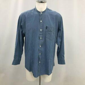 Ralph Lauren Shirt Men's Size 16.5 Blue Cotton Long Sleeve Band Collar 141083